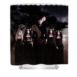 Shower Curtain featuring the digital art Casquette Brides by Shanina Conway