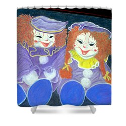 Shower Curtain featuring the pastel Aunt Cassies Raggedy Ann And Andy  Pastel by Antonia Citrino