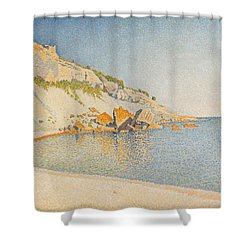 Shower Curtain featuring the painting Cassis. Cap Lombard. Opus 196 by Paul Signac