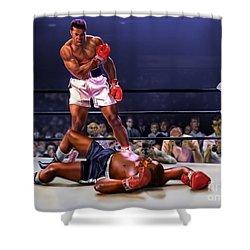 Cassius Clay Vs Sonny Liston Shower Curtain