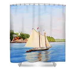 Castine Harbor And Dice Head Light Shower Curtain