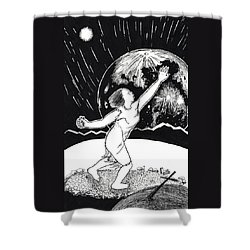 Shower Curtain featuring the drawing Casting The Stones From Squaw Winter by Dawn Senior-Trask