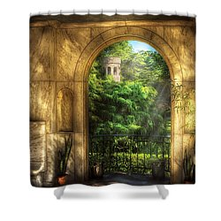 Castle - Just Beyond Shower Curtain by Mike Savad
