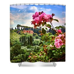 Castle And Roses In Firenze Shower Curtain