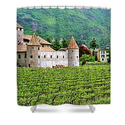 Castle And Vineyard In Italy Shower Curtain by Greg Matchick