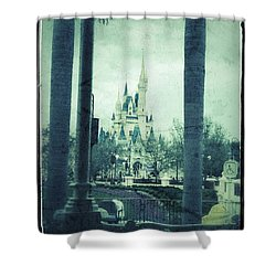 Castle Between The Palms Shower Curtain