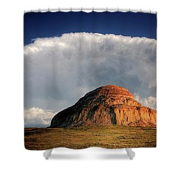 Castle Butte In Big Muddy Valley Of Saskatchewan Shower Curtain by Mark Duffy