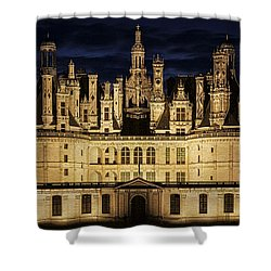 Shower Curtain featuring the photograph Castle Chambord Illuminated by Heiko Koehrer-Wagner