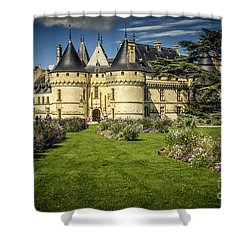 Shower Curtain featuring the photograph Castle Chaumont With Garden by Heiko Koehrer-Wagner