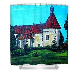 Castle Ciityscape Acrylic Painting Shower Curtain by Natalja Picugina