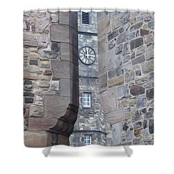 Castle Clock Through Walls Shower Curtain by Margaret Brooks