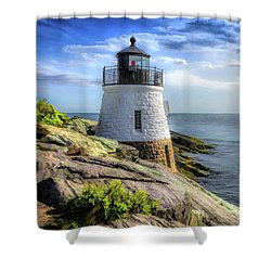 Shower Curtain featuring the painting Castle Hill Lighthouse by Christopher Arndt