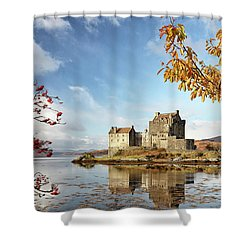 Castle In Autumn Shower Curtain