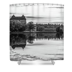 Castle In Black And White Shower Curtain