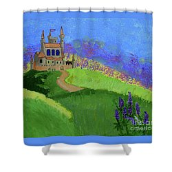 Shower Curtain featuring the painting Castle In The Sky by Johanne Peale