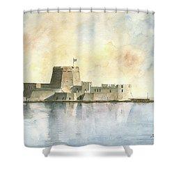 Castle Of Bourtzi In Nafplio Shower Curtain by Juan Bosco