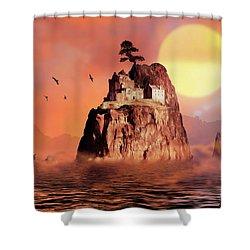 Castle On Seastack Shower Curtain