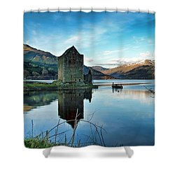 Castle On The Loch Shower Curtain by Lynn Bolt