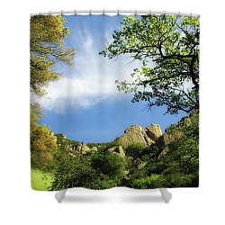 Castle Rock Shower Curtain by Donna Blackhall