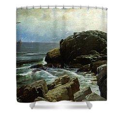 Shower Curtain featuring the digital art Castle Rock - Marblehead by Lianne Schneider