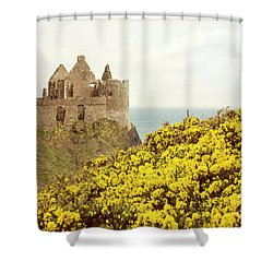 Shower Curtain featuring the photograph Castle Ruins And Yellow Wildflowers Along The Irish Coast by Juli Scalzi
