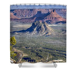 Castle Valley Overlook Shower Curtain by Alan Toepfer