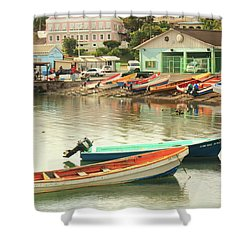 Castries Harbor Waterfront Shower Curtain by Roupen  Baker