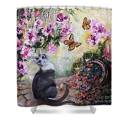 Cat And Butterflies In Cottage Garden Shower Curtain by Ginette Callaway