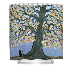 Cat And Crow Shower Curtain by Nick Gustafson