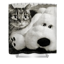 Shower Curtain featuring the photograph Cat And Dog In B W by Andee Design