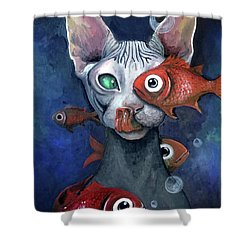 Cat And Fish Shower Curtain by Akiko Okabe