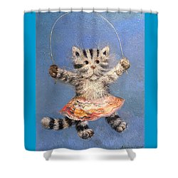 Cat And Skip Rope Shower Curtain