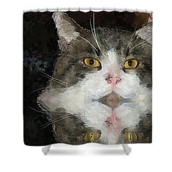 Cat At The Table Shower Curtain