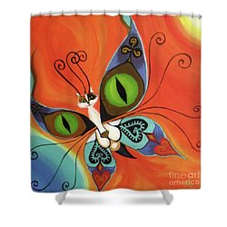Cat-eyes Butterfly Shower Curtain by Melina Mel P