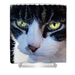 Shower Curtain featuring the digital art Cat Eyes by Jana Russon