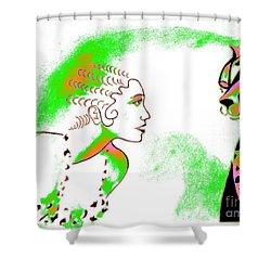cat eyes neon green shower curtain
