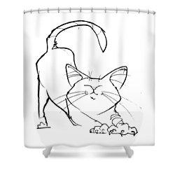 Cat Gesture Sketch Shower Curtain