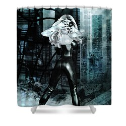 Cat Girl Comic Like Pinup Shower Curtain