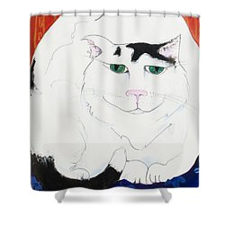 Cat II - Cat Dozing Off Shower Curtain by Leela Payne