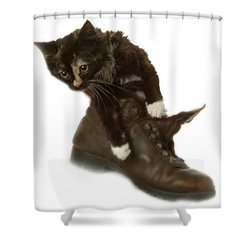 Cat In Boot Shower Curtain