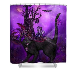 Cat In Goth Witch Hat Shower Curtain by Carol Cavalaris