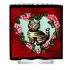 Cat In Heart Wreath 2 Shower Curtain by Genevieve Esson