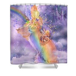 Cat In The Dreaming Hat Shower Curtain by Carol Cavalaris