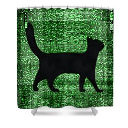 Shower Curtain featuring the digital art Cat In The Matrix Black And Green by Matthias Hauser