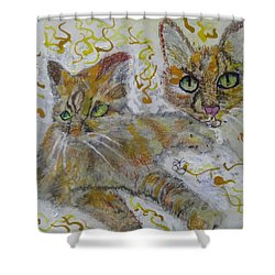 Cat Named Phoenicia Shower Curtain by AJ Brown