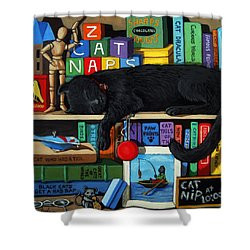 Shower Curtain featuring the painting Cat Nap - Orginal Black Cat Painting by Linda Apple
