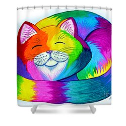 Cat Napping Shower Curtain by Nick Gustafson