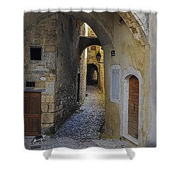 Shower Curtain featuring the photograph Cat On A Quiet Street In Viviers by Allen Sheffield