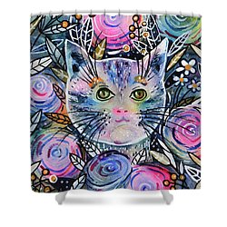 Shower Curtain featuring the painting Cat On Flower Bed by Zaira Dzhaubaeva