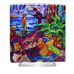 Cat On Table Bad Puss Shower Curtain by Dianne  Connolly